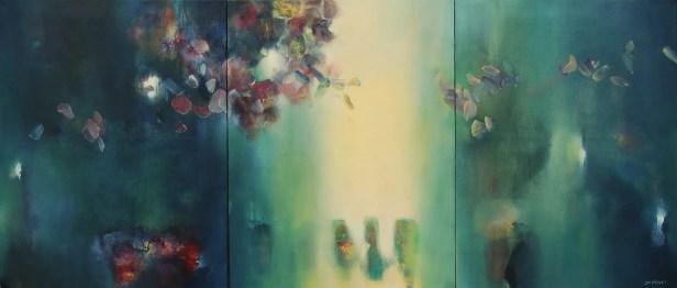 La première heure du jour (triptyque huile sur toile 70 x 168 cm)