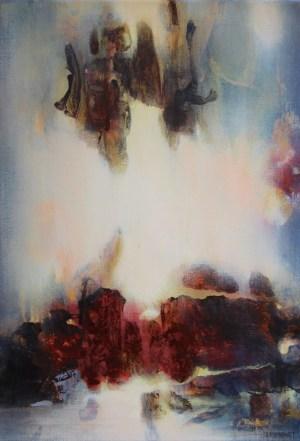 La visite I (acrylique sur toile 55 x 38 cm)