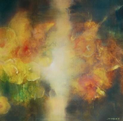 Jardin au bord de la nuit III (huile sur toile 40 x 40 cm)