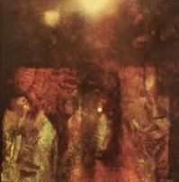 Jardin au bord de la nuit IV (huile sur toile 40 x 40 cm)