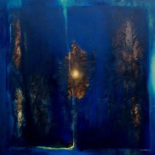 Sanctuaire de nuit (huile sur papier toilé marouflé sur bois 65 x 65 cm)