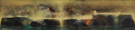 Traversée II (acrylique sur bois 16x65 cm)