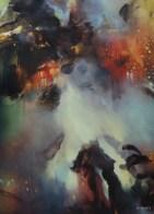 Préparation au soir (acrylique sur toile 100 x 73 cm)