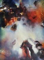 La préparation au soir (acrylique sur toile 100 x 73 cm)