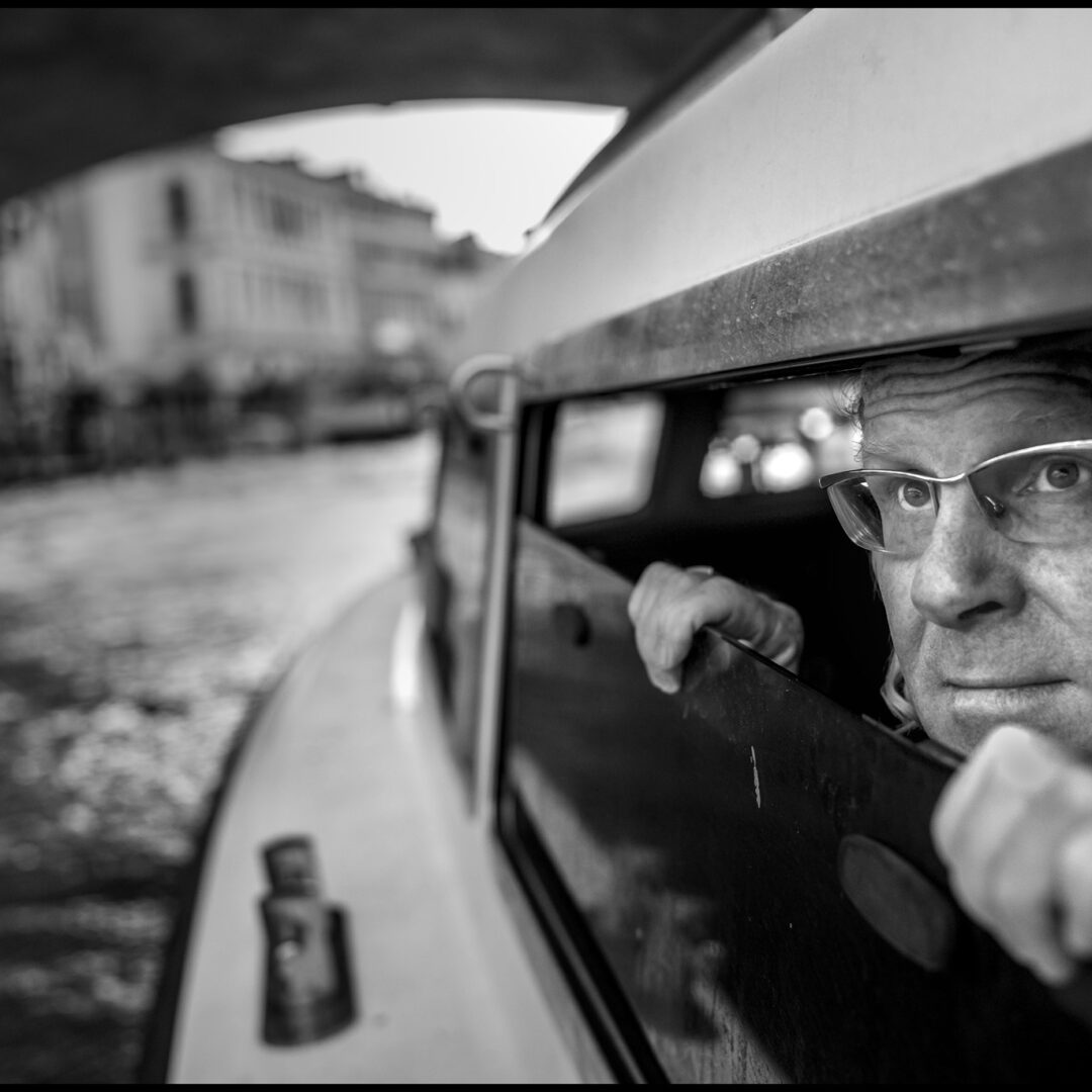 Peter Turnley on a vaporetto boat on his arrival in Venice Italy in October 2019.