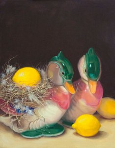 Mallards with lemons, oil on panel, 14x11 in