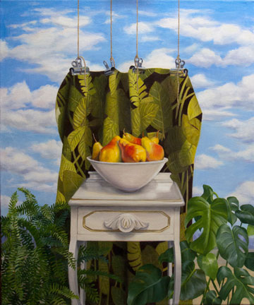 Green Curtain by Jean Reece Wilkey, oil on canvas, 36x30 in.