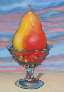 Pear in Americana crystal cup