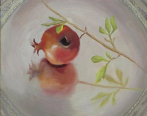 Pomegranate on silver dish, oil on panel, 8 x 10 in. © Jean Reece Wilkey