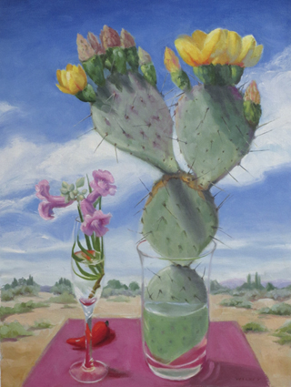 oil painting of prickly pear and desert willow