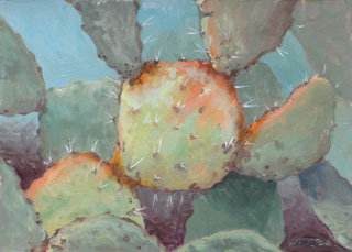 prickly pear cactus with orange spots
