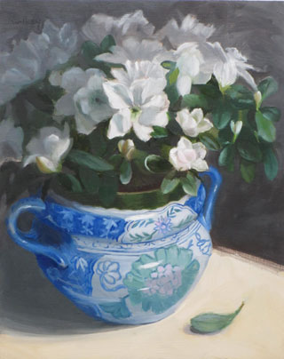 White Azalea in Blue Pot, original oil painting