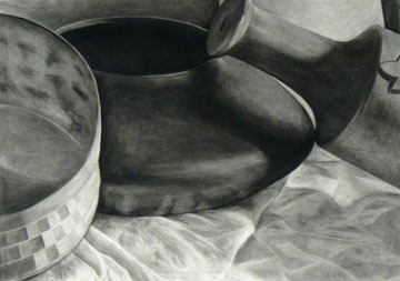 Student still life charcoal drawing