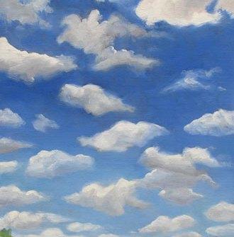 Popcorn Sky, 12x9 in, oil