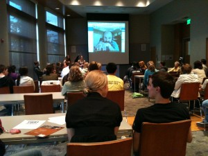 Dozens of students and local citizens gathered to hear the plan in Puyallup to Fight for the Right to Write!