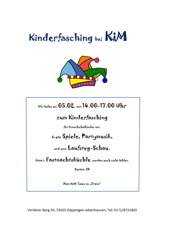 Einladung: Kinderfasching bei KiM