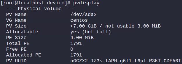 Output of: pvdisplay