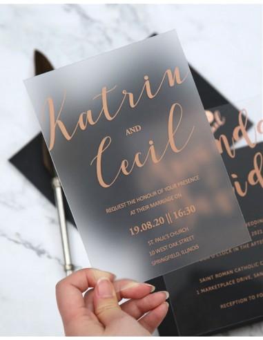 faire part mariage plexiglass serigraphie moderne modele 9