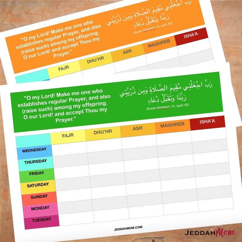 Prayer charts JeddahMom