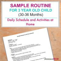Sample Routine for a 3 Year Old Child + Printable chart