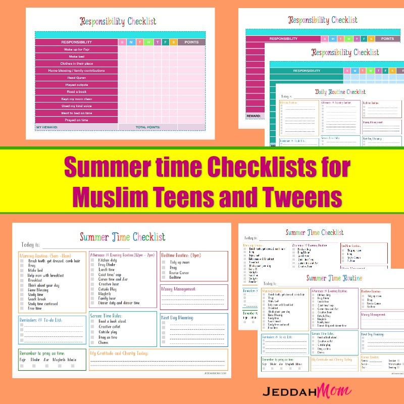 Summer checklists for Muslim Teens Routine charts for teenagers