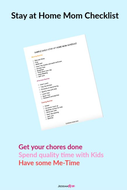 Sample Stay at Home Mom schedule checklist _ JeddahMom
