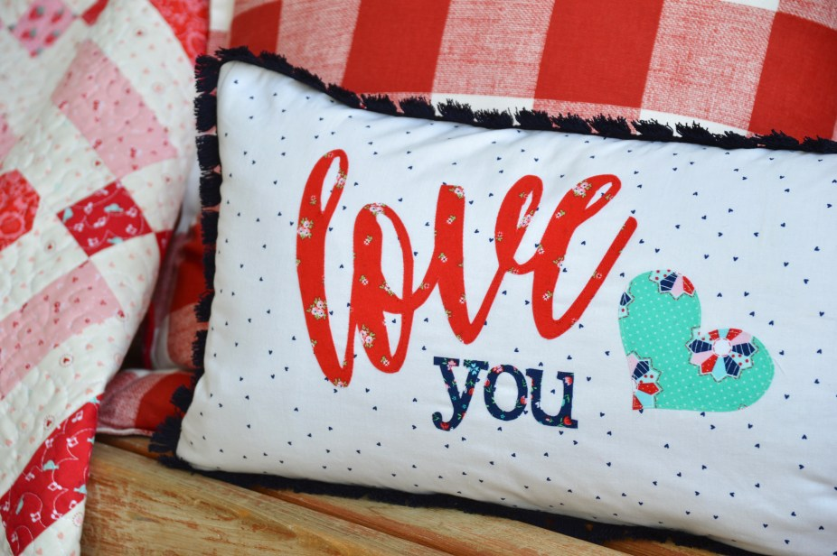 Love script applique pillow tutorial