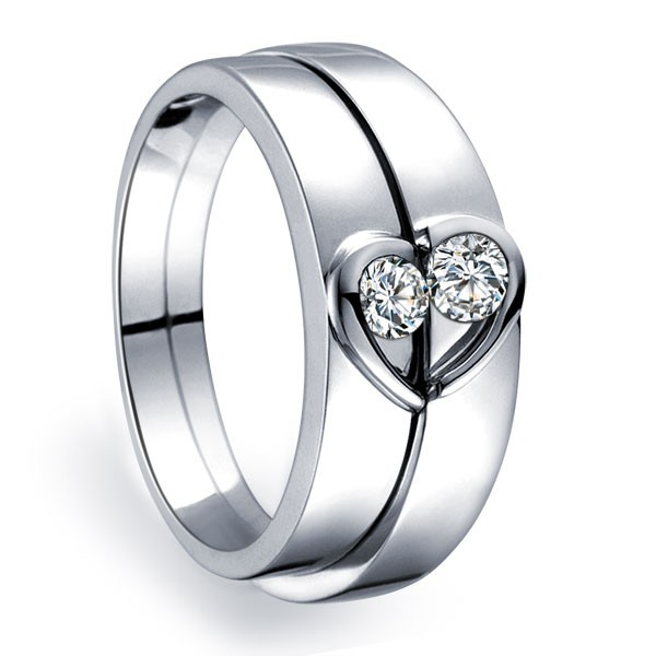 Unique Heart Shape Couples Matching Wedding Band Rings On