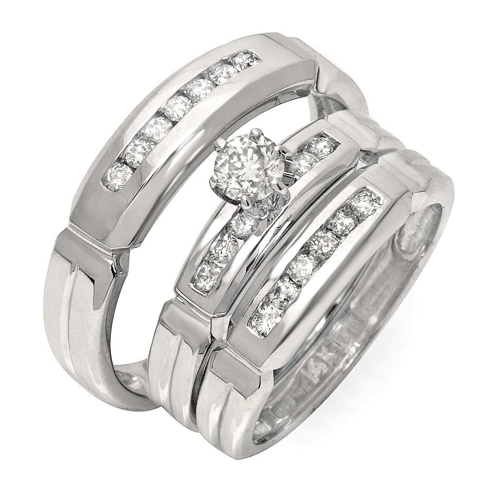 Luxurious Trio Marriage Rings Half Carat Round Cut Diamond