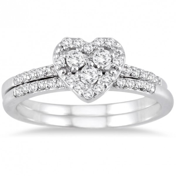 Sparkling Heart Ring Halo Wedding Set Ring 1 Carat Round