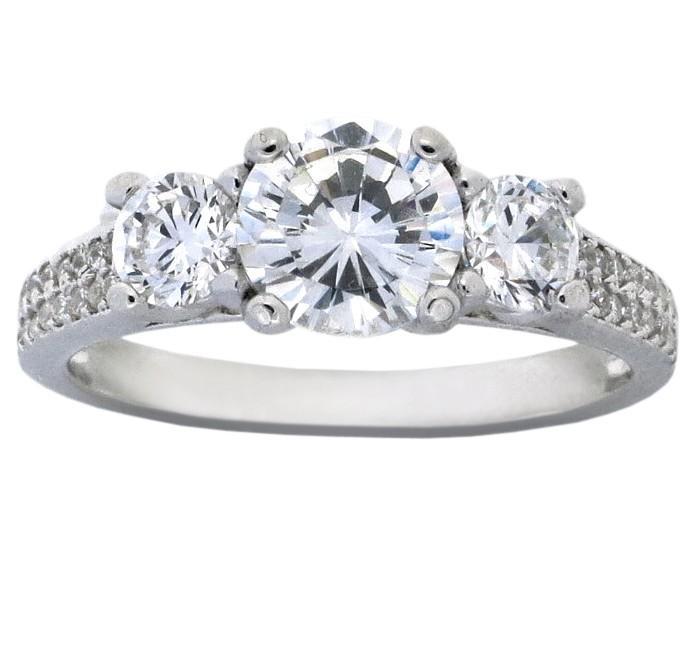 2 Carat Cubic Zirconia Three Stone Round Engagement Ring