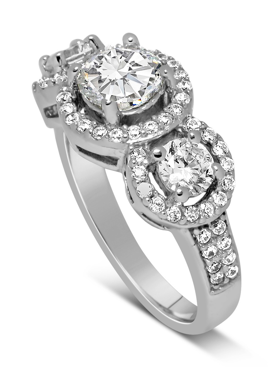 Unique Trilogy 1 Carat Round Diamond Engagement Ring In