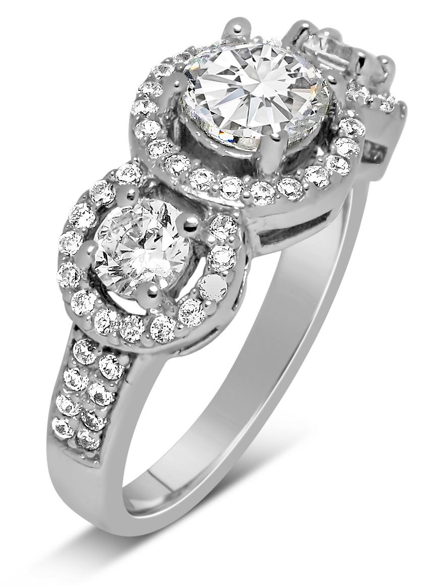 Unique Trilogy 1 Carat Round Diamond Engagement Ring In