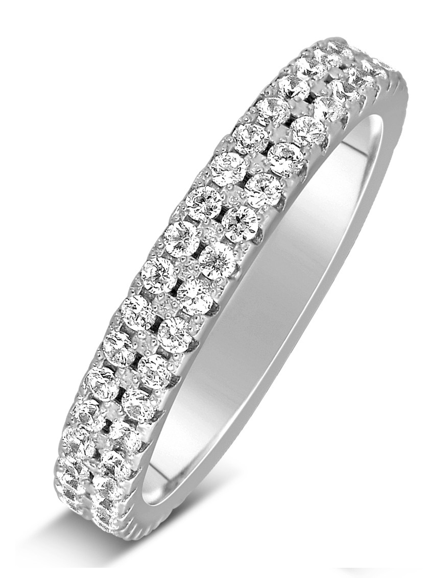 1 Carat 2 Row Diamond Wedding Ring Band In White Gold For