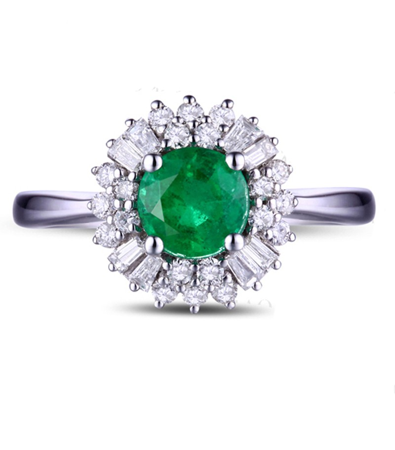 1 Carat Green Emerald And Diamond Halo Engagement Ring For