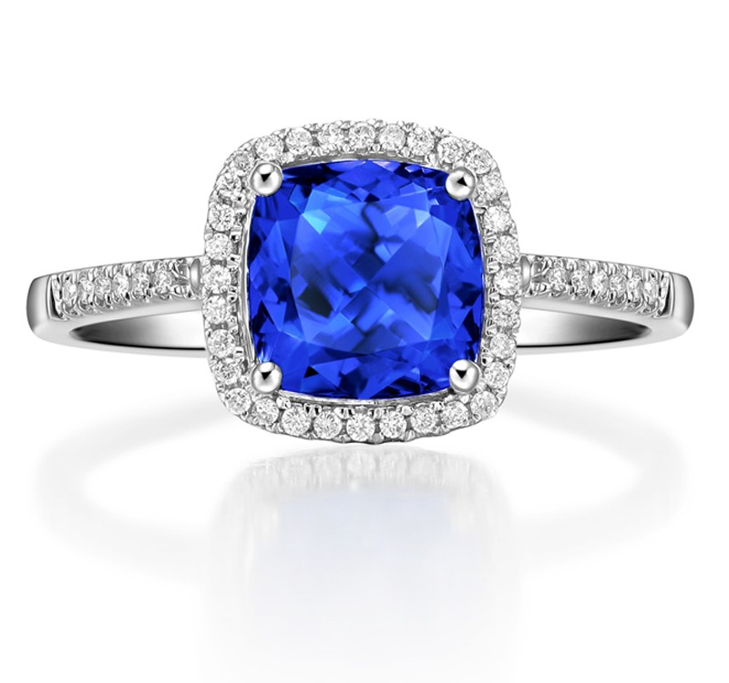 2 Carat Cushion Cut Blue Sapphire And Diamond Halo
