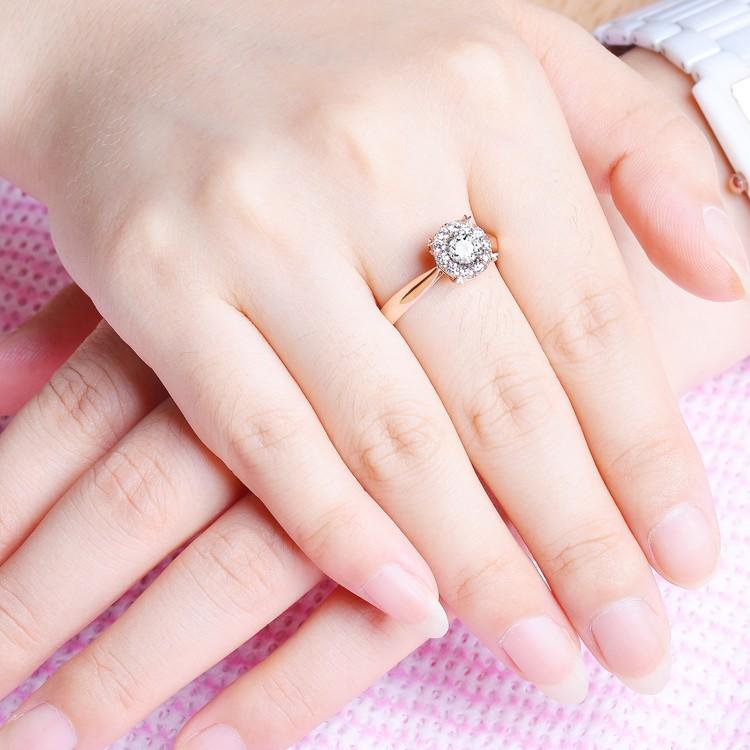On Sale Half Carat Round Diamond Halo Engagement Ring