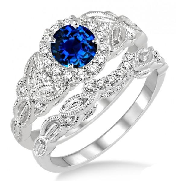 125 Carat Sapphire And Diamond Vintage Floral Bridal Set