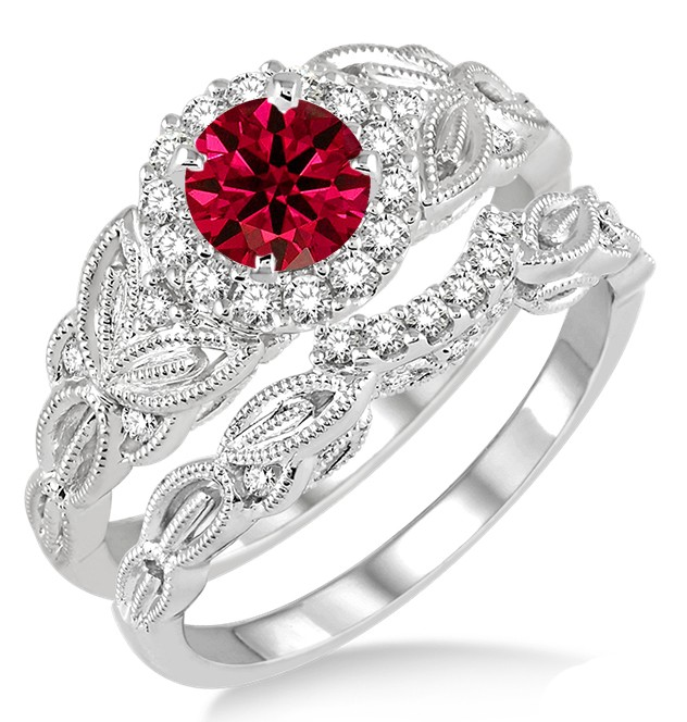 125 Carat Ruby Amp Diamond Vintage Floral Bridal Set