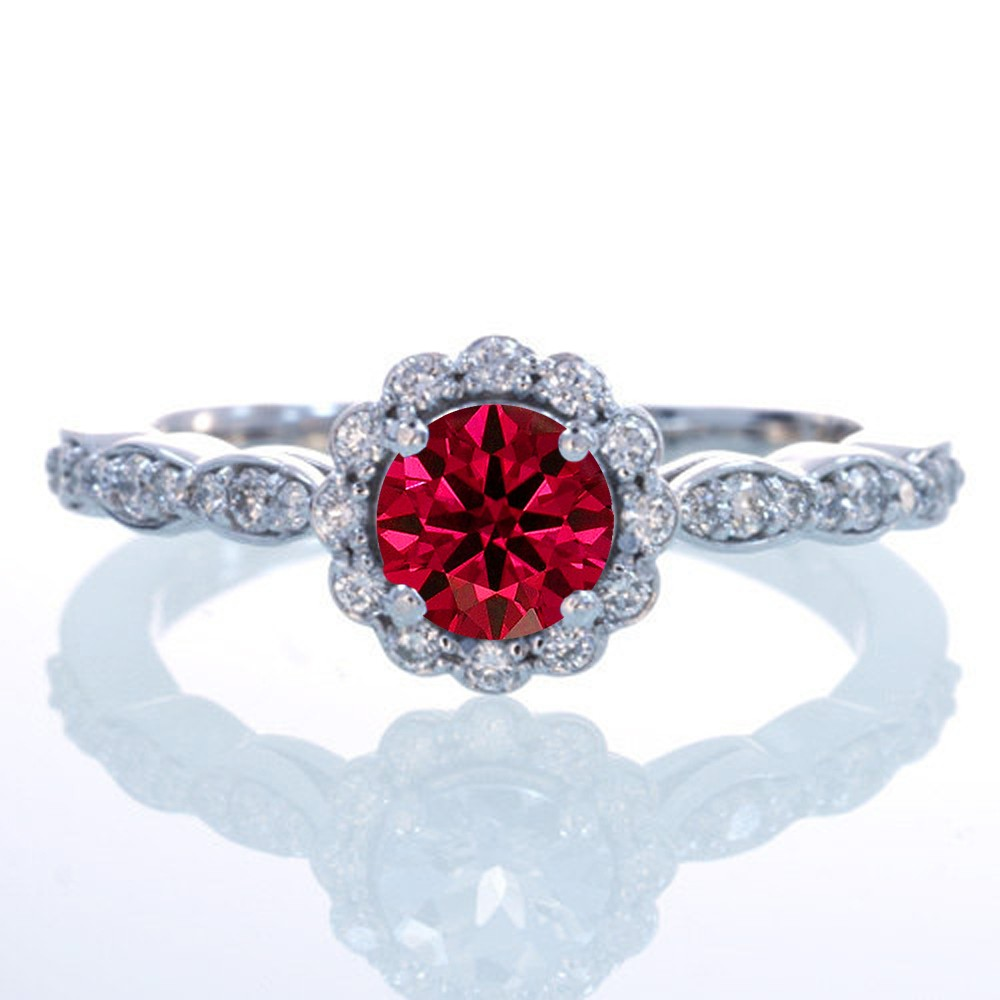 15 Carat Round Cut Ruby And Diamond Flower Vintage