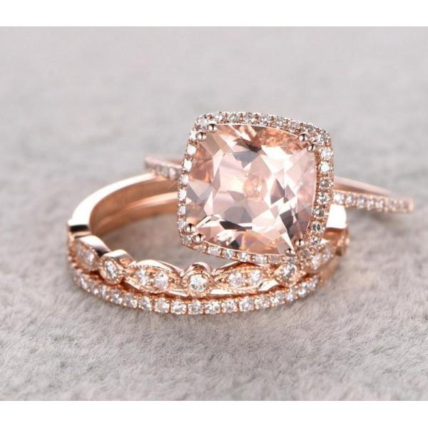 Sale 2 Carat Morganite And Diamond Trio Wedding Bridal