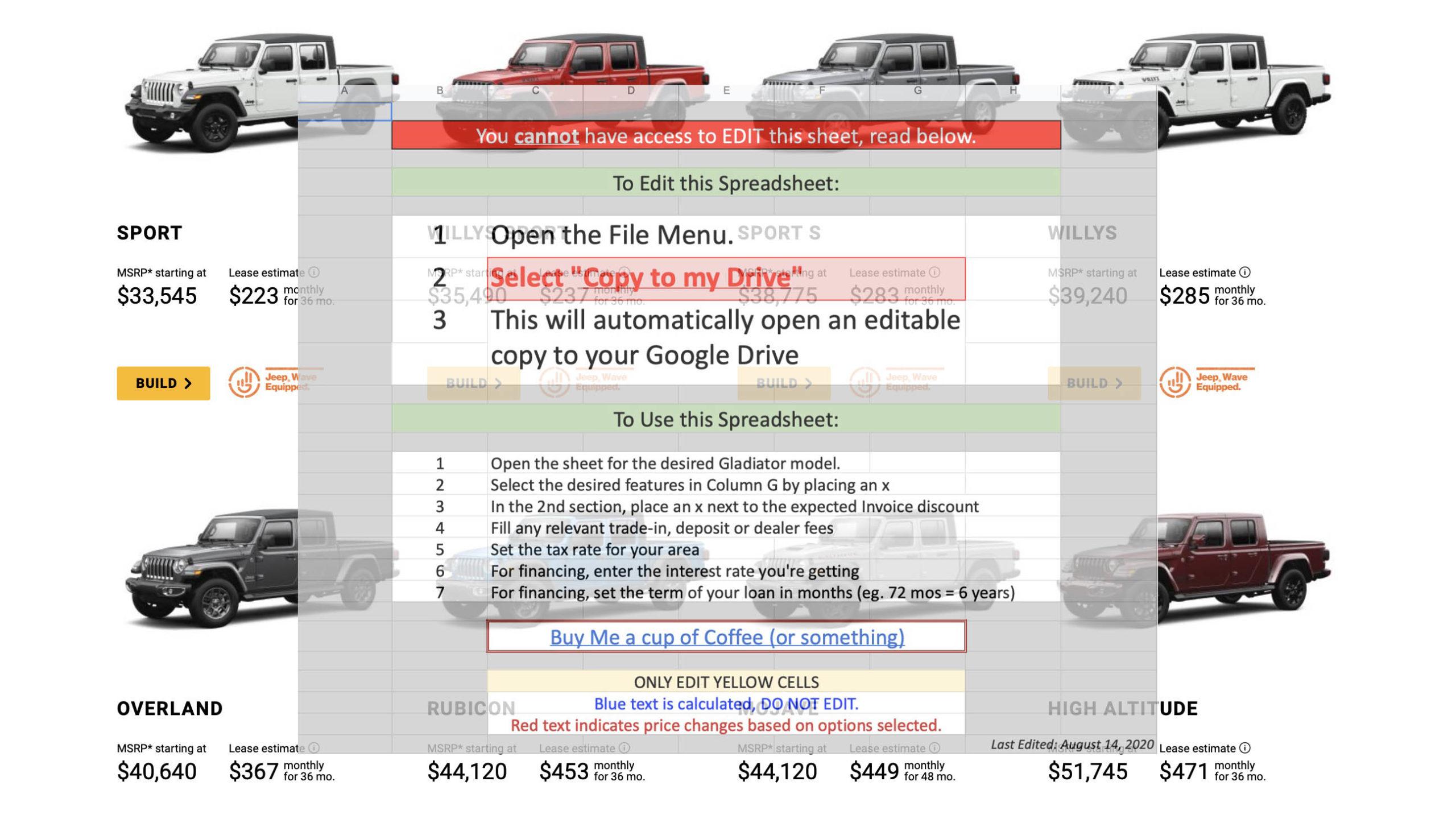 Gladiator Pricing Worksheet
