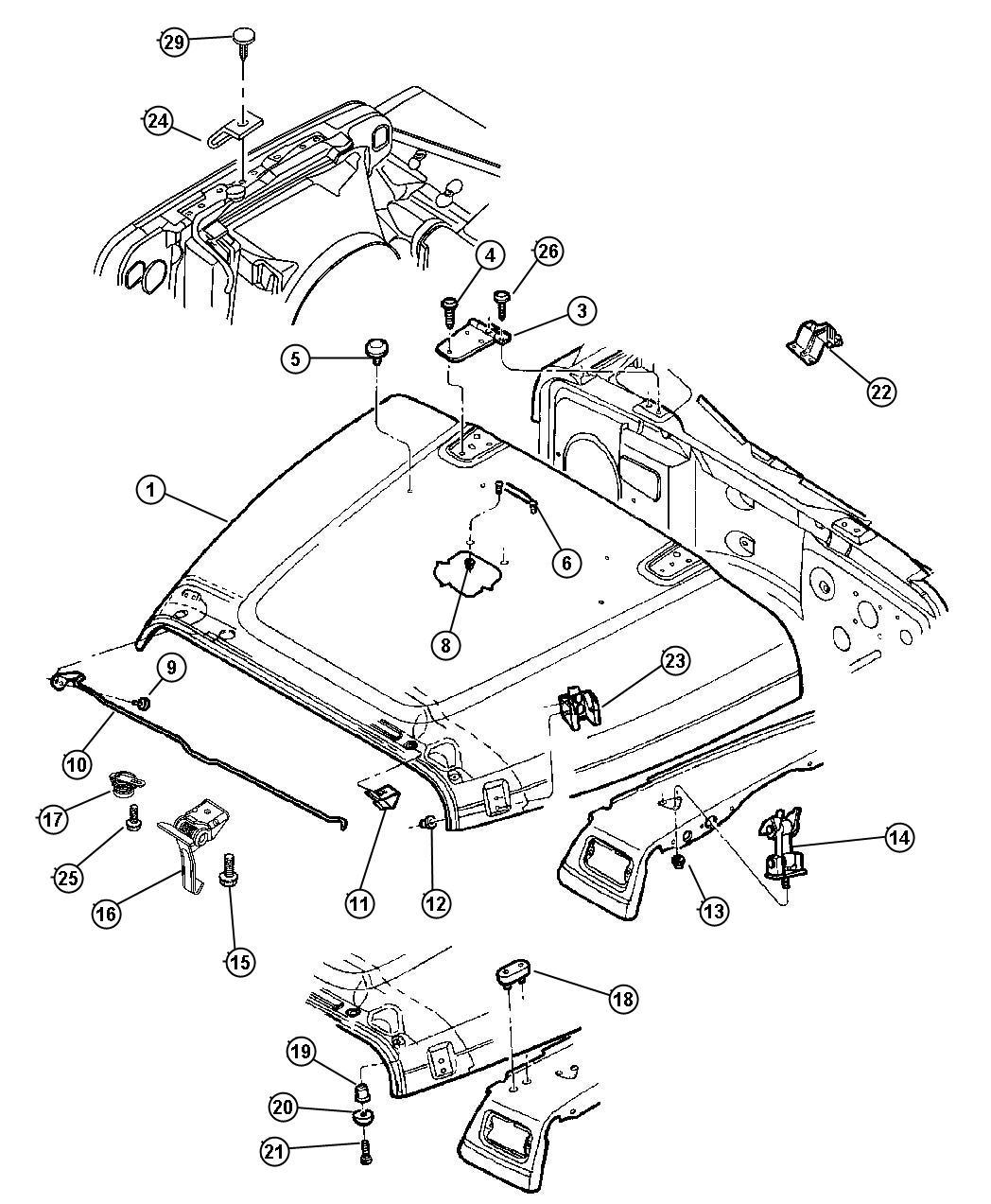 Jeep Wrangler Clip Prop Rod Plastic Catches Displayheadlamp Rectangular