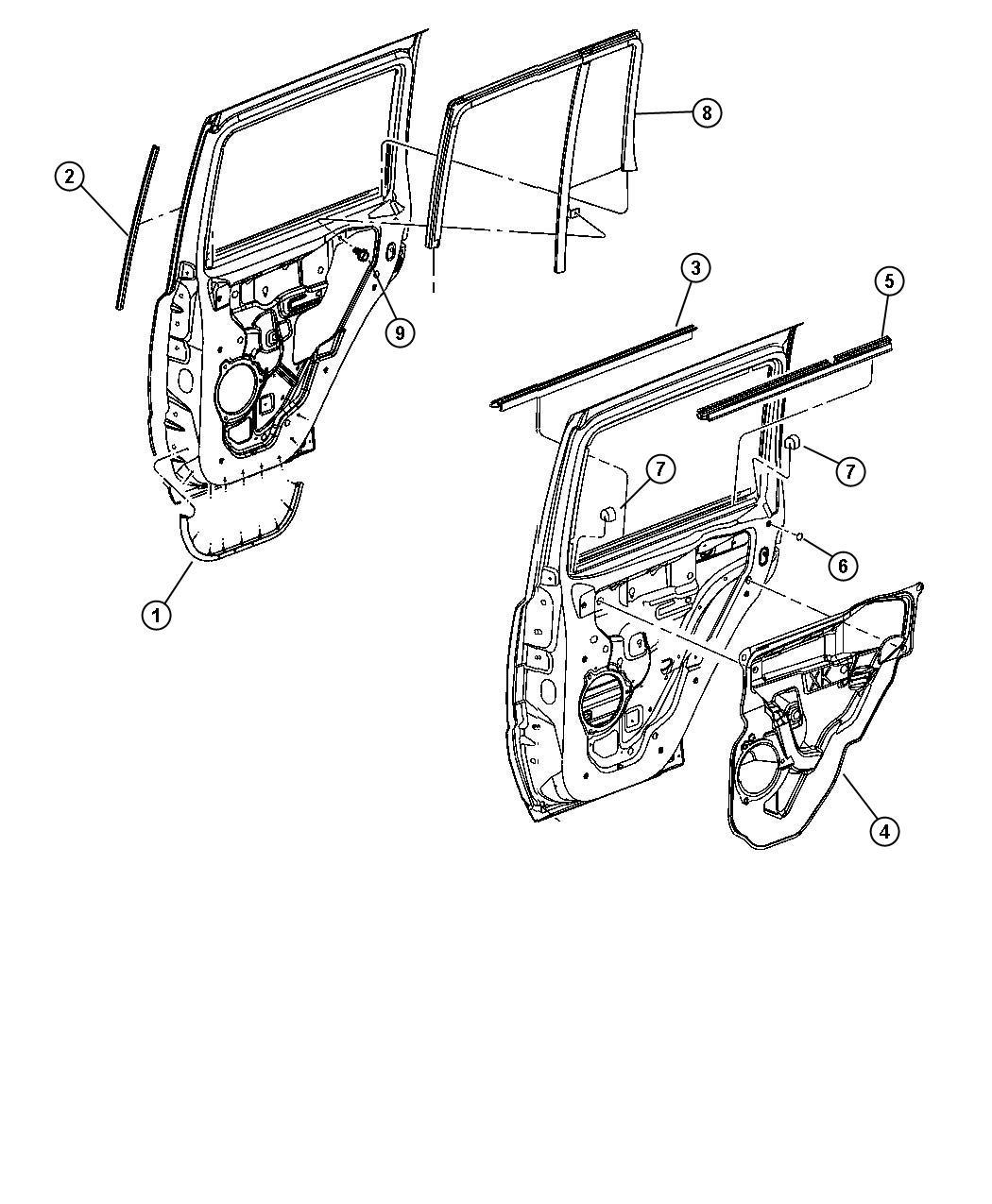 Jeep Commander Weatherstrip Rear Door Belt Right Weatherstrips Seals Body