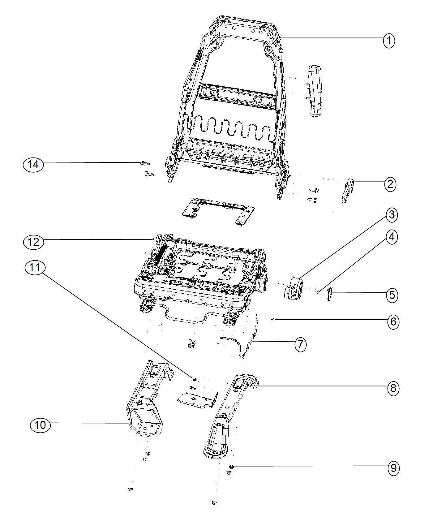 Jeep Wrangler Frame Front Seat Back Trim Front