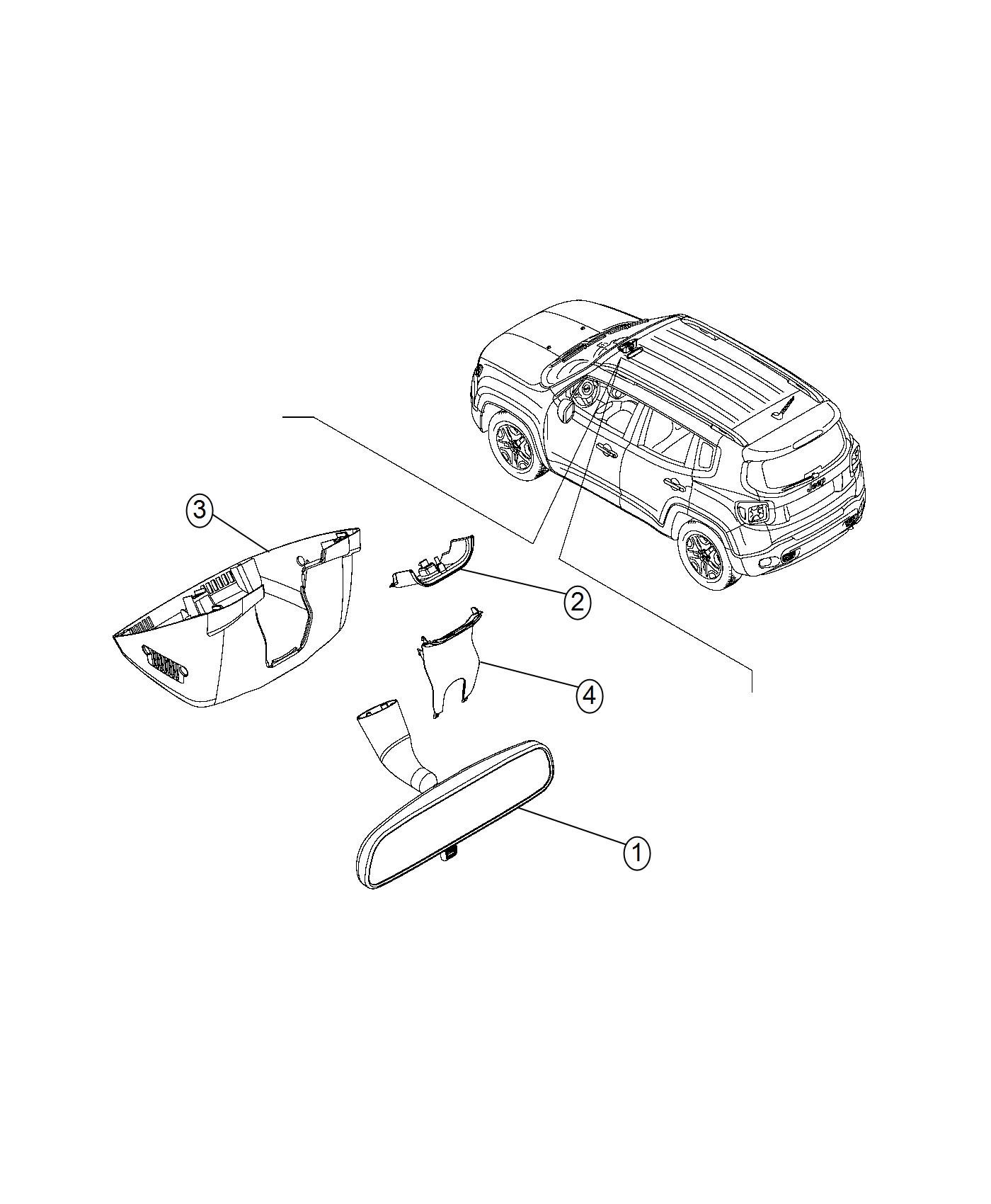Jeep Renegade Mirror Inside Rear View Export Trim No