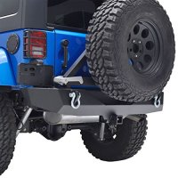 "E-Autogrilles 51-0315 07-16 Jeep Wrangler JK Heavy Duty Rock Crawler Rear Bumper with Tire Carrier and 2""Hitch Receiver-Textured Black"