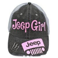 Jeep Girl Trucker Style Cap Hat-Grey-Pink