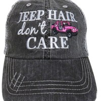 "Embroidered ""Jeep Hair Don't Care"" Washed Out Grey Trucker Cap Hat"