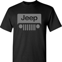 Jeep Wrangler Grey Logo on a Black Short Sleeve T Shirt